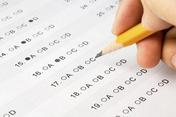 multiple choice exam sheet
