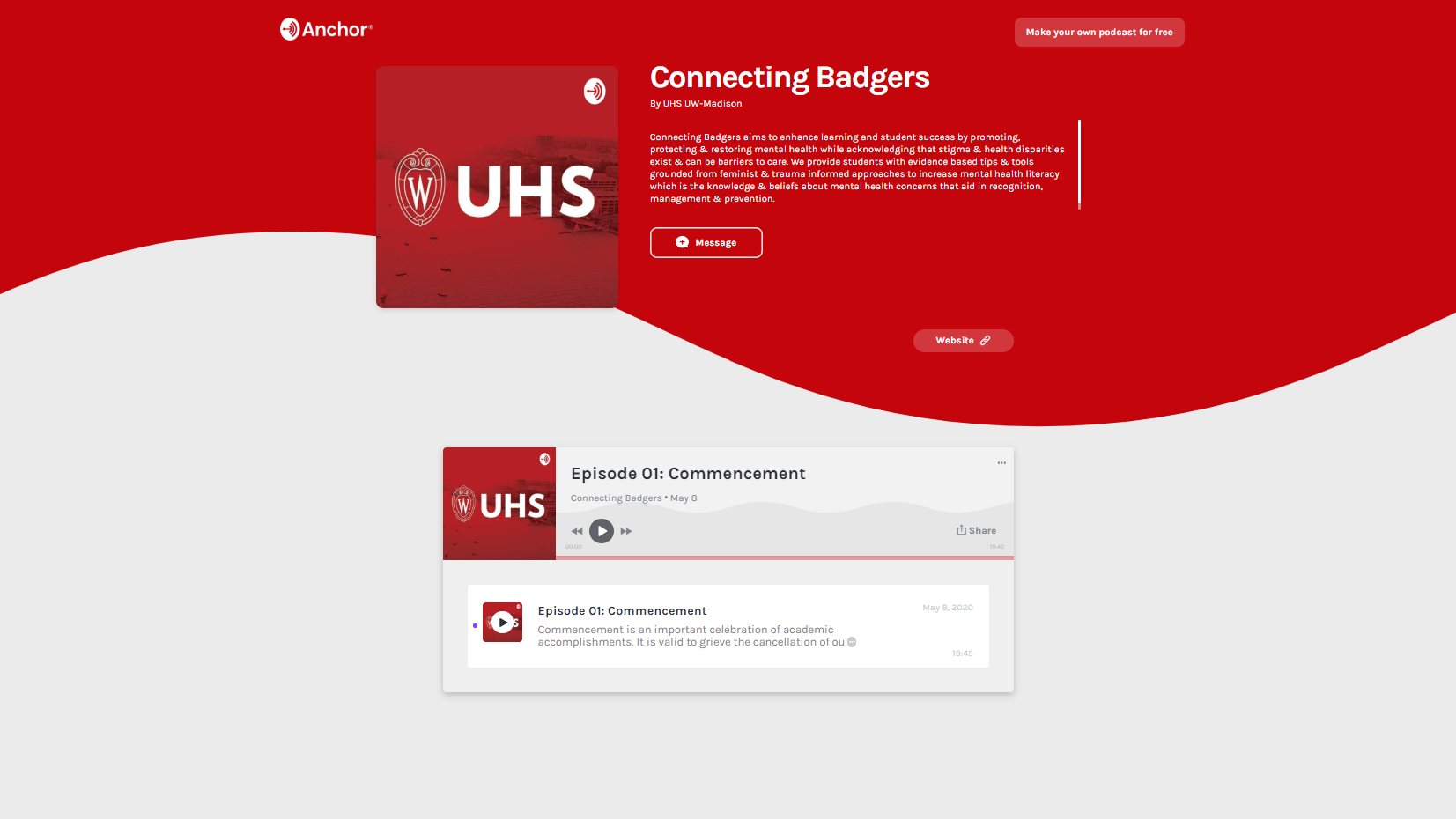 image of the UHS podcast webpage called 'Connecting Badgers'