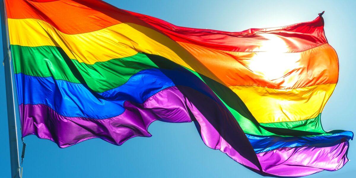 Pride flag waving outdoors
