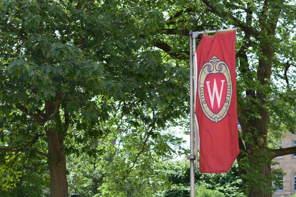 Image of the Wisconsin Crest on a flag on Bascom Hill.