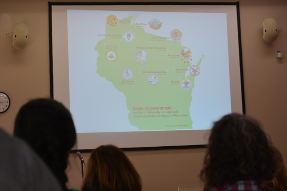 Image of a presentation slide displaying the 11 Native tribes in Wisconsin.