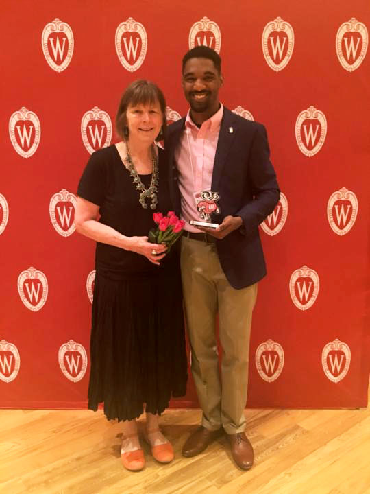Image of Cotton and Nellis at the awards ceremony.