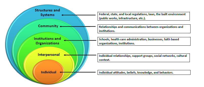 ecological model of health and wellness Examines, using a social-ecological model, the evidence-based strategies for   we use the term clinical to include primary care in health care.